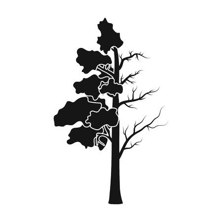 Boom half vol met groen blad en half droog pictogram in zwarte stijl geïsoleerd op een witte achtergrond. Bio en ecologie symbool voorraad vectorillustratie