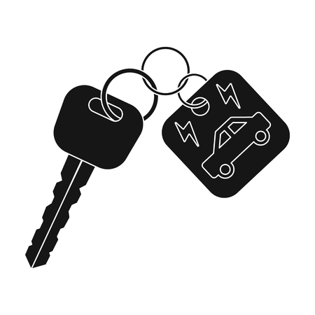 Key from eco car icon in black style isolated on white background. Bio and ecology symbol stock vector illustration. Illustration