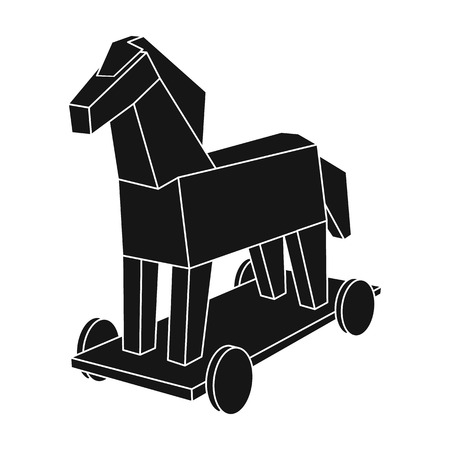 trojan: Trojan horse icon in black style isolated on white background. Hackers and hacking symbol stock vector illustration.