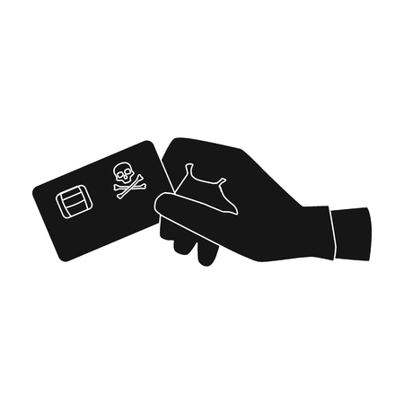 Credit card fraud icon in black style isolated on white background. Hackers and hacking symbol stock vector illustration. Illustration
