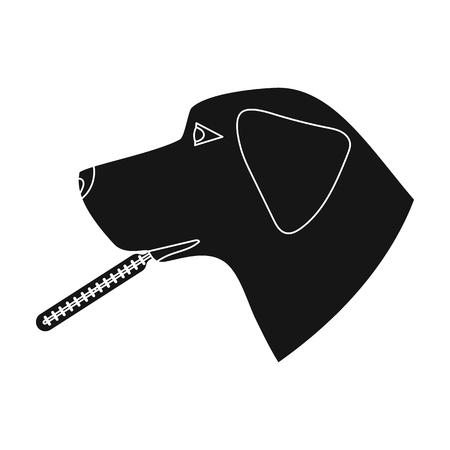 cold compress: Dog with thermometer icon in black style isolated on white background. Veterinary clinic symbol stock vector illustration. Illustration