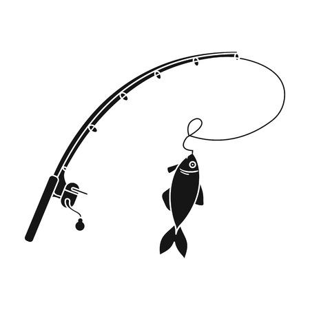 Canne à pêche et icône du poisson dans le style noir isolé sur fond blanc. symbole de pêche stocks illustration vectorielle.