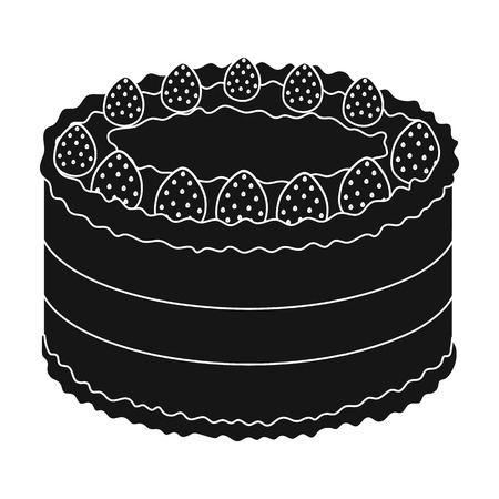 strawberry cake: Strawberry cake icon in black style isolated on white background. Cakes symbol stock vector illustration.