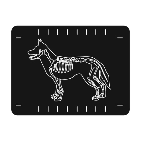 Icona di raggi x del cane in stile nero isolato su priorità bassa bianca. Illustrazione di stock di simbolo di clinica veterinaria.