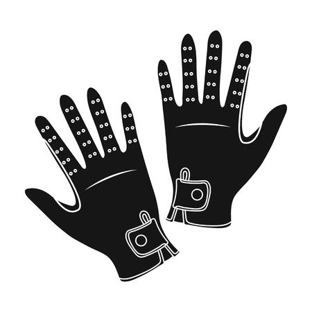 hippodrome: Jockeys gloves icon in black style isolated on white background. Hippodrome and horse symbol stock vector illustration. Illustration