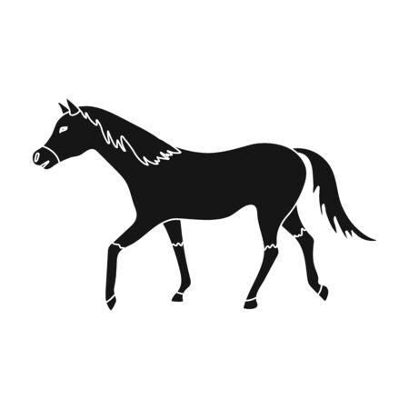 hippodrome: Horse icon in black style isolated on white background. Hippodrome and horse symbol stock vector illustration. Illustration