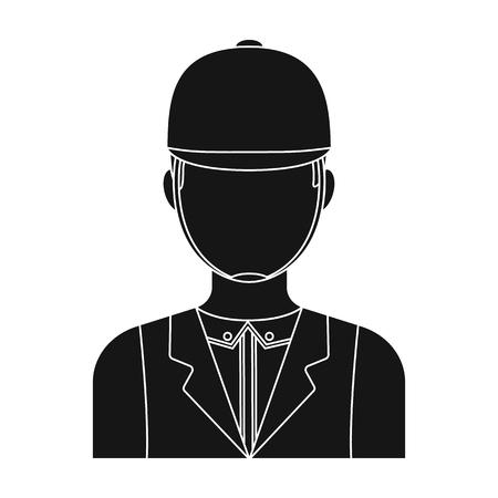 Jockey icon in black style isolated on white background. Hippodrome and horse symbol stock vector illustration. Illustration