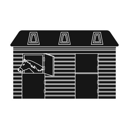 horse stable: Horse stable icon in black style isolated on white background. Hippodrome and horse symbol stock vector illustration. Illustration