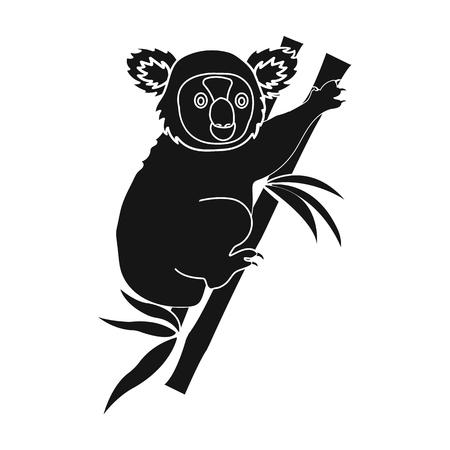 fur trees: Australian koala icon in black style isolated on white background. Australia symbol stock vector illustration.