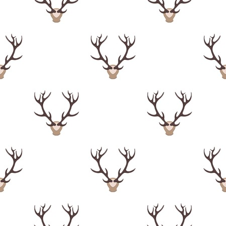 wildlife shooting: Deer antlers horns icon in cartoon style isolated on white background. Hunting pattern stock vector illustration.