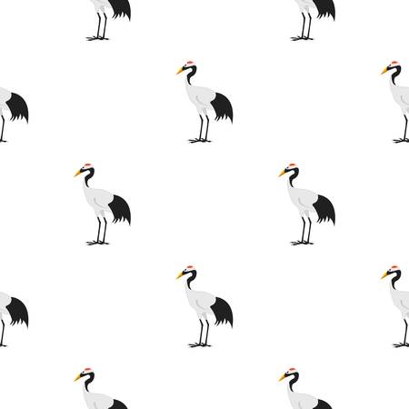 Red-crowned crane icon in cartoon style isolated on white background. Japan pattern stock vector illustration.