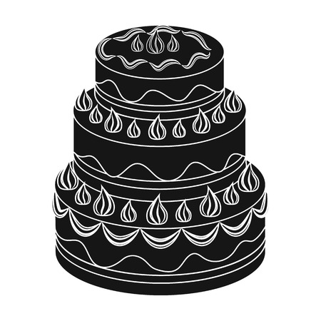 Red three-ply cake icon in black style isolated on white background. Cakes symbol stock vector illustration. Stock Photo