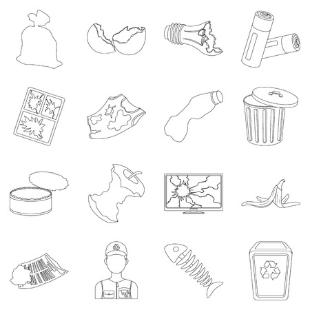 opened bag: Trash and garbage set icons in outline style. Big collection of trash and garbage vector symbol stock illustration