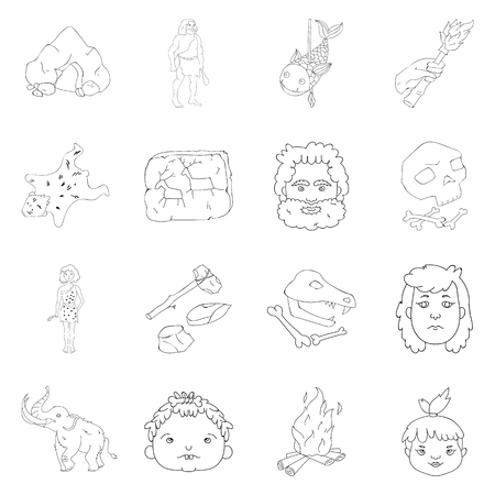 bearskin: Stone age set icons in outline style. Big collection of stone age vector symbol stock illustration