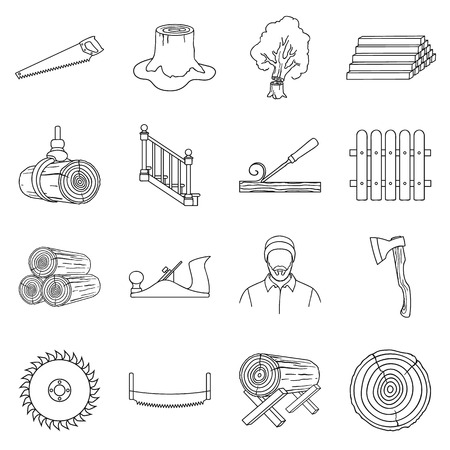 log on: Sawmil and timber set icons in outline style. Big collection sawmill and timber vector symbol stock illustration Illustration