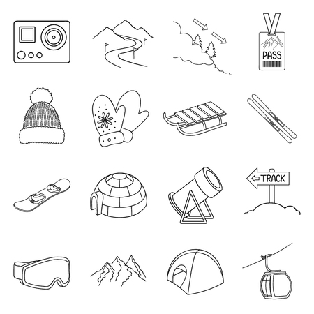 mountain pass: Ski resort set icons in outline style. Big collection ski resort vector symbol stock illustration