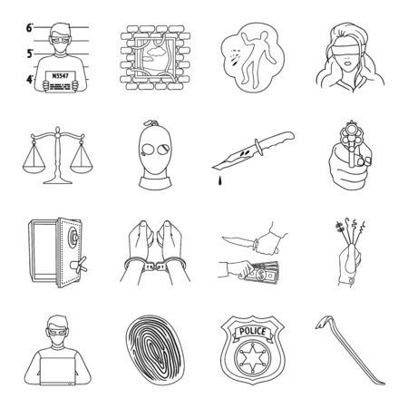 crowbar: Crime set icons in outline style. Big collection of crime vector symbol stock illustration