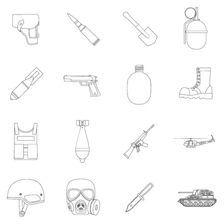 explosive gas: Military and army set icons in outline style. Big collection of military and army vector symbol stock illustration