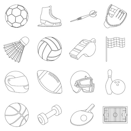 Sport and fitness set icons in outline style. Big collection sport and fitness vector symbol stock illustration