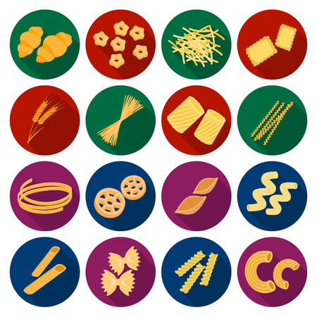 Types of pasta set icons in flat style. Big collection of types of pasta vector symbol stock illustration Stock Vector - 68921155