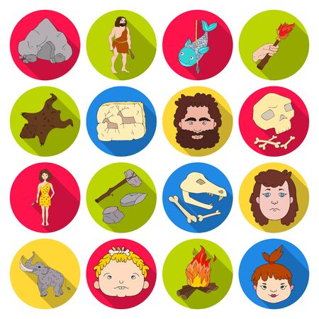 edad de piedra: Stone age set icons in flat style. Big collection of stone age vector symbol stock illustration