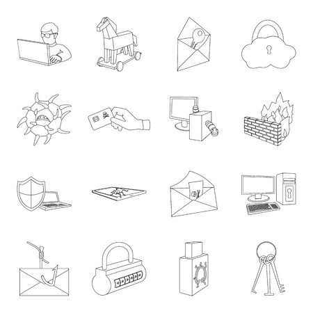 computer worm: Hackers and hacking set icons in outline style. Big collection of hackers and hacking vector symbol stock illustration