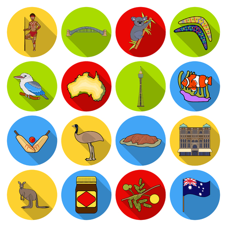 Australia set icons in flat style. Big collection of Australia vector symbol stock illustration
