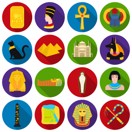 obelisk: Ancient Egypt set icons in flat style. Big collection of ancient Egypt vector symbol stock illustration Illustration