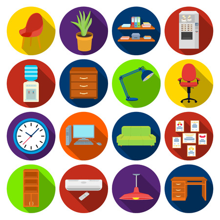 pendant lamp: Office furniture and interior set icons in flat style. Big collection of office furniture and interior vector symbol stock illustration