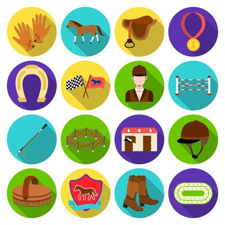 hippodrome: Hippodrome and horse set icons in flat style. Big collection of hippodrome and horse vector symbol stock illustration