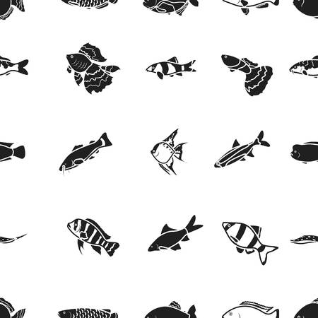 cyphotilapia: Aquarium fish pattern icons in black style. Big collection of aquarium fish vector symbol stock illustration
