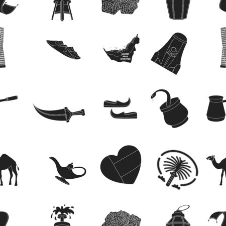 Arab Emirates pattern icons in black style. Big collection of Arab Emirates vector symbol stock illustration