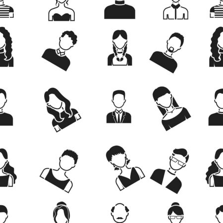 bald girl: Avatar pattern icons in black style. Big collection of avatar vector symbol stock illustration Illustration