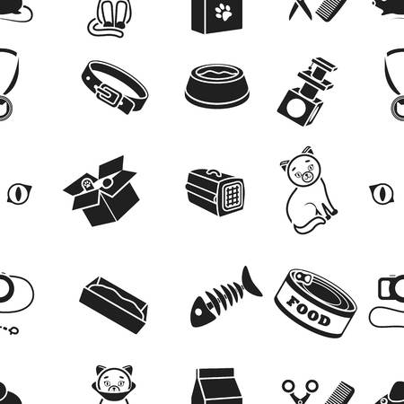 parody: Cat equipment pattern icons in black style. Big collection of cat equipment vector symbol stock illustration Illustration