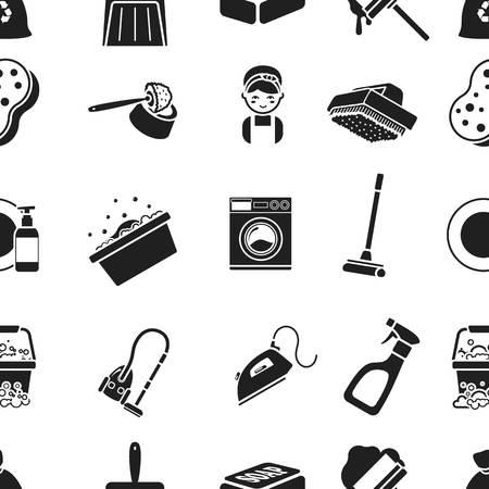 Reinigungs Muster Symbole in Schwarz Stil. Große Sammlung von Reinigungs Vektor-Symbol stock Illustration