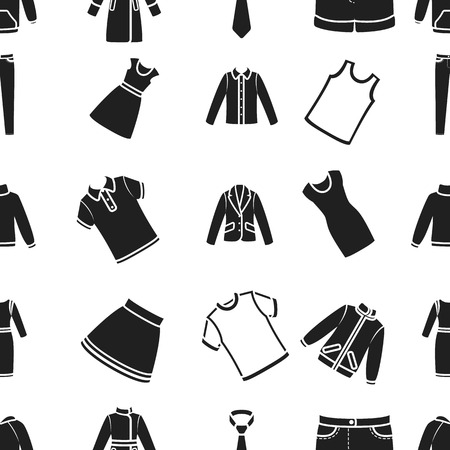 Clothes pattern icons in black style. Big collection of clothes vector symbol stock illustration