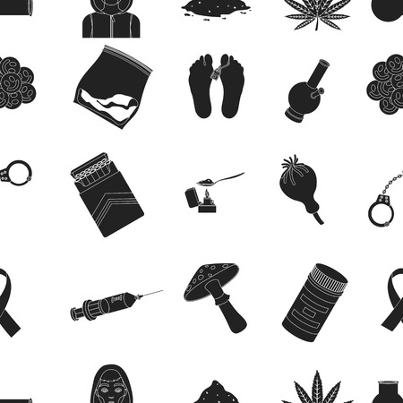 ecstasy: Drugs pattern icons in black style. Big collection of drugs vector symbol stock illustration