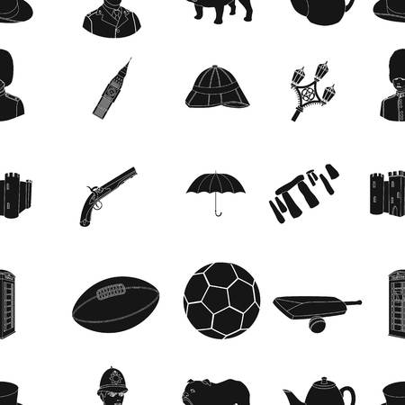 top gun: England country pattern icons in black style. Big collection of England country vector symbol stock illustration Illustration