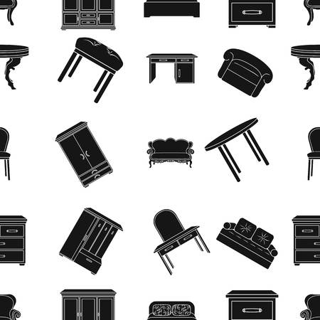 wooden stool: Furniture and home interior pattern icons in black style. Big collection of furniture and home interior vector symbol stock illustration