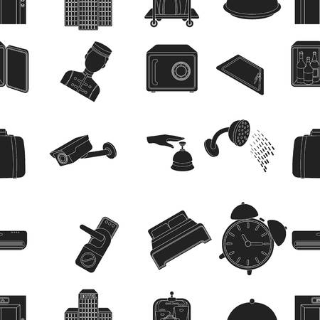 minibar: Hotel pattern icons in black style. Big collection of hotel vector symbol stock illustration