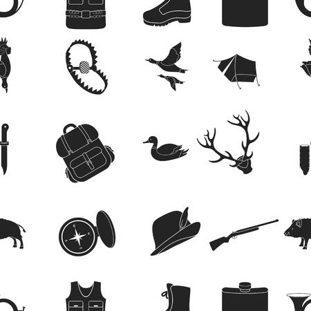 hip flask: Hunting pattern icons in black style. Big collection of hunting vector symbol stock illustration