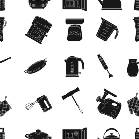 stockpot: Kitchen pattern icons in black style. Big collection of kitchen vector symbol stock illustration