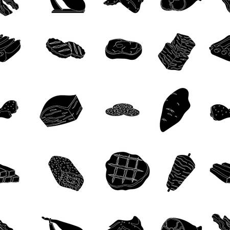 patties: Meats pattern icons in black style. Big collection of meats vector symbol stock illustration