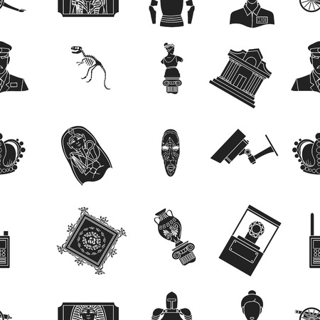 art museum: Museum pattern icons in black style. Big collection of museum vector symbol stock illustration