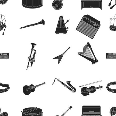 oboe: Musical instruments pattern icons in black style. Big collection of musical instruments vector symbol stock illustration Illustration