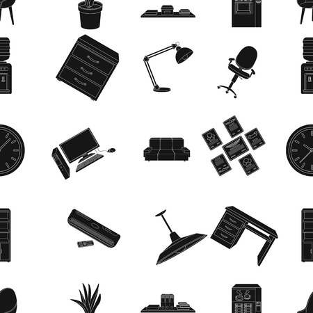 Office furniture and interior pattern icons in black style. Big collection of office furniture and interior vector symbol stock illustration