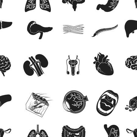 Organs pattern icons in black style. Big collection of organs vector symbol stock illustration