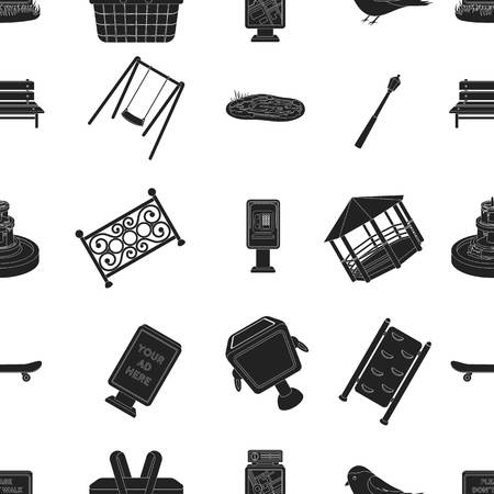 parus: Park pattern icons in black style. Big collection of park vector symbol stock illustration Illustration