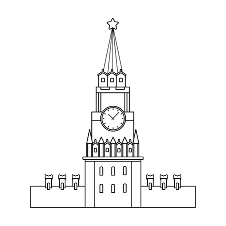 Kremlin icon in outline style isolated on white background. Russian country symbol stock vector illustration.
