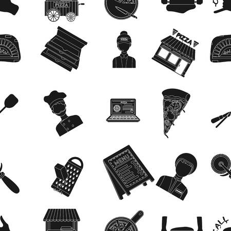 woodfired: Pizza and pizzeria pattern icons in black style. Big collection of pizza and pizzeria vector symbol stock illustration